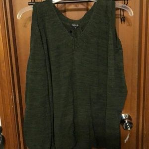 Knit dark green sweater with open shoulders
